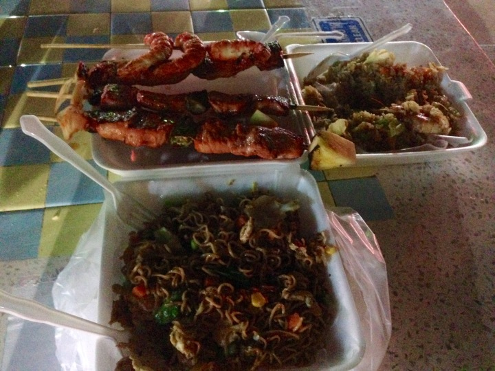 fried mama, seafood fried rice, chicken skewers, and some skewer which was a gross between a crab and a lobster...
